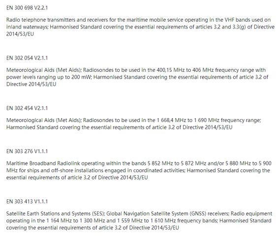 【RED】五项新协调标准近日已发布